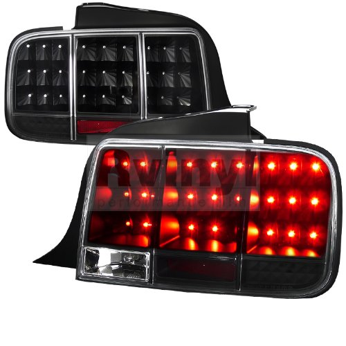 Spec-D Tuning LT-MST05JMLED-SQ-TM Ford Mustang Sequential Black Led Tail Lights