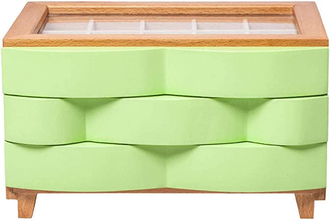 LIYANSNH Cajones de Madera Caja de joyería Cajas de Almacenamiento Cofres con Tapa de Vidrio Diseño de Tapa: Amazon.es: Hogar
