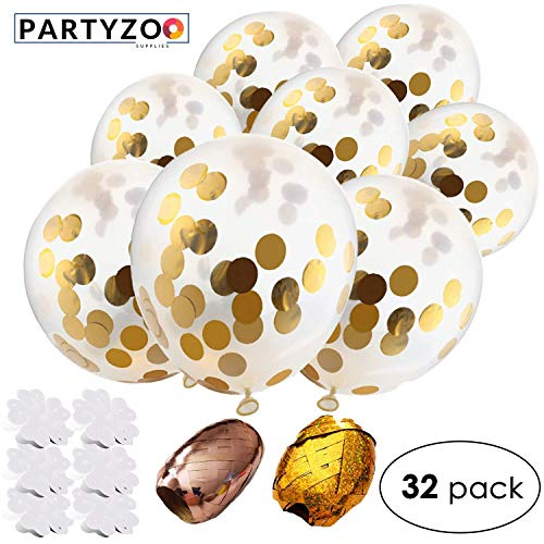 PARTYZOO Gold Confetti Balloons (32 Piece Set) Golden Ribbon Rolls, Flower Clips | Birthday Party, Wedding, Proposal, Baby Shower, Gender Reveal | Air Filled, Jumbo