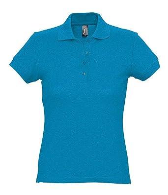 SOLS - Polo de piqué de algodón pasión para Mujer Azul Agua M ...
