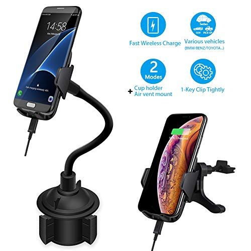 Car Cup Holder Cell Phone Mount, 2 in 1 Auto Air Vent Mount Cradle Wireless Charger 10W Bracket, Compatible with iPhone Xs Max Android Phone with Flexible Long Neck for Sedan,SUV (Black)