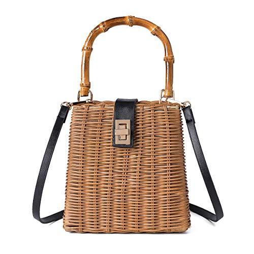(JOSEKO Women Straw Handbags, Women Beach Shoulder Bag Ladies Purse Satchel Top Handle Leather Strap Crossbody Bag (15cm x 8cm x 20cm(LxWxH), Khaki #01) )