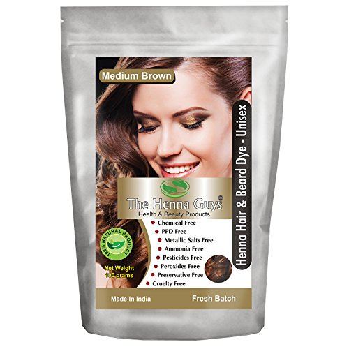 The Henna Guys Henna Hair and Beard Color/Dye, Medium - Mix To Brown How Color