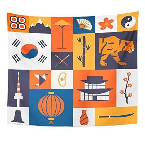 Emvency Tapestry Artwork Wall Hanging South Korea Korean Cultural Symbols of Flat Traditional Cuisine and Nature 50x60 Inches Tapestries Mattress Tablecloth Curtain Home Decor Print - Korean Wall Hanging