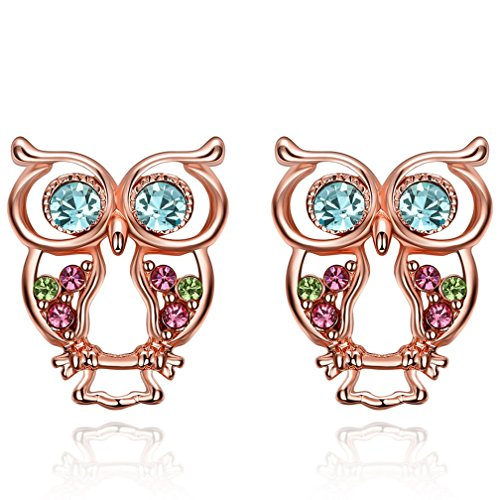 Women's Vintage 18K Rose Gold Plated Cluster Multi Colors Cubic Zirconia Halo Cute Owl Stud Earrings for Teen Girls - Sterling Silver Dallas Cowboys Earring
