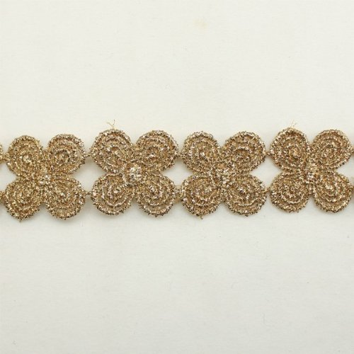Gold Metallic Floral Flower Lace trim by the yard - Bridal wedding Lace Trim wedding fabric Millinery accent motif scrapbooking crafts lace for baby headband hair accessories dress bridal accessories by Annielov trim #77