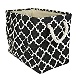 "DII Collapsible Polyester Storage Basket or Bin with Durable Cotton Handles, Home Organizer Solution for Office, Bedroom, Closet, Toys, & Laundry (Small – 14x8x9""), Black Lattice"