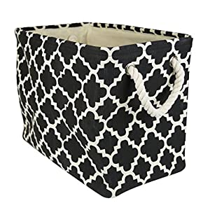 DII Printed Polyester, Collapsible and Convenient Storage Bin To Organize Office, Bedroom, Closet, Kid's Toys, & Laundry - Large Rectangle, Black Lattice