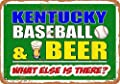 Eeypy 8 x 12 Metal Sign - Kentucky Baseball and Beer - Vintage Look