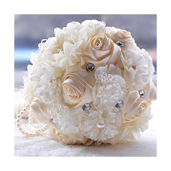 Winhappyhome Handmade Roses & Sunflowers Bride Holding Flower Wedding Bouquet with Pearl Chain Rhinestones Embellishment (Milk white)