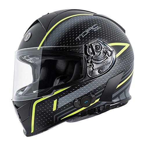 Torc T14B Blinc Loaded Scramble Mako Full Face Helmet (Hi Viz Yellow with Graphic, Medium)