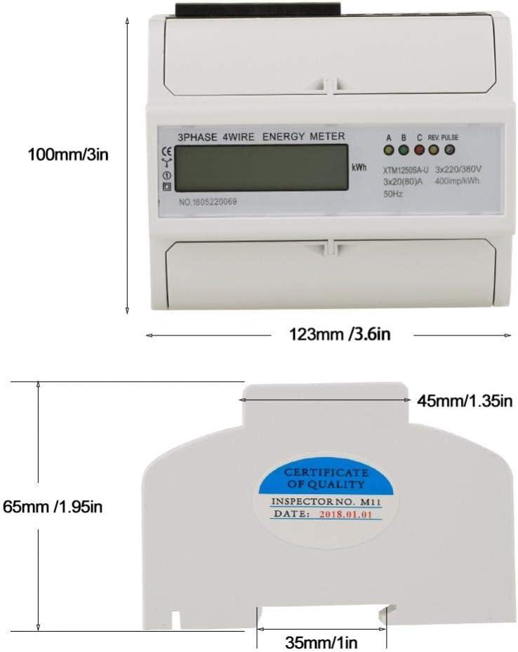 100 3 x 220V // 380V KWh M/ètre /Électrique Rail Compteur d/Énergie Num/érique LCD Triphas/é 4 Fils 7P /Électronique 30 A