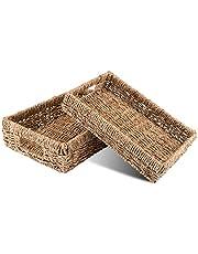 Decorasian Kosz do przechowywania, pleciony z trawy morskiej – taca prostokątna – zestaw 2 sztuk