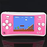 JJFUN RS-1 Handheld Game Console for Children,Classic Retro Game Player with 2.5'' 8-Bit LCD Portable Video Games,The 80's Arcade Video Gaming System,Built-in 152 Old School Games Entertainment-PINK