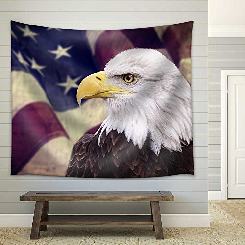 Bald Eagle with The American Flag Out of Focus and Grunge Look Fabric Wall