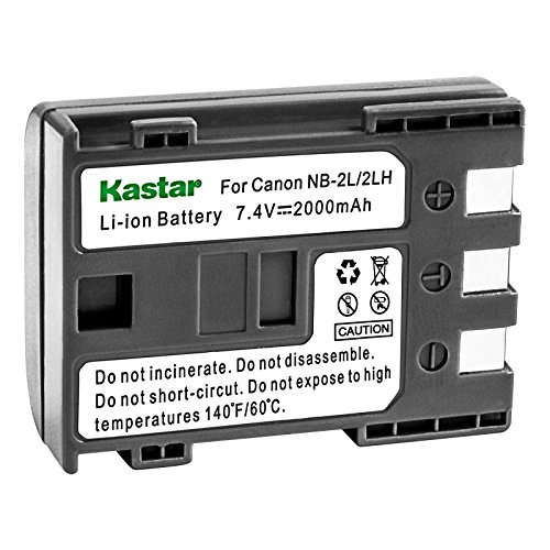 Kastar Battery (1-Pack) for Canon NB-2L NB-2LH NB-2L12 NB-2L14 NB-2L24 and PowerShot G7 G9 S30 S40 S45 S50 S60 S70 S80 DC410 DC420 VIXIA HF R10 HF R100 HF R11 EOS 350D 400D Digital Rebel XT Xti ()