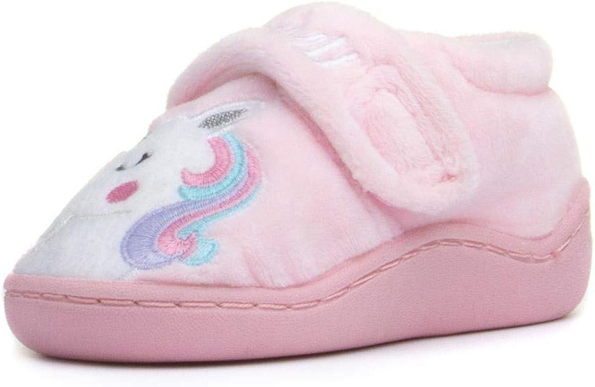 ZONE Girls Pink Easy Fasten Unicorn Slipper