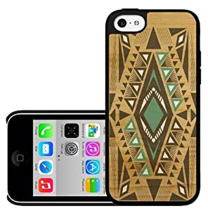 Teal and Black Aztec Tribal Pattern on Wood Background Hard Snap on Phone Case (iPhone 5c) by icecream design