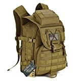 Tactical Backpack - IDOGEAR 40L Tactical Backpack Molle Assault Pack 900D Nylon Water Resistant Military Army Shoulder Bag Travelling Climbing Airsoft School Hiking Bug Out Backpacks (A: Coyote Brown)