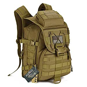 IDOGEAR 40L Tactical Backpack Molle Assault Pack 900D Nylon Water Resistant Military Army Shoulder Bag Travelling Climbing Airsoft School Hiking Bug Out Backpacks (A: Coyote Brown)