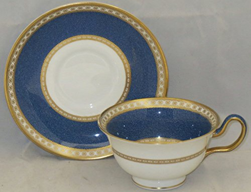 Wedgwood Ulander-Powder Blue Peony Shape Footed Cup & Saucer Set - Wedgwood Ulander Powder