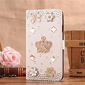 QHY Diamond Gem Iron Tower Petal PU Leather Full Body Case with Stand and Card Slot for iPhone 5/5S
