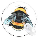 FannyD Bee Unique 8' Round Mouse Pad, Low Profile (1/8') with Anti Slip Rubber Backing & Cloth Surface Featuring Art by Fanny Dallaire. for PC, Laptop, Mac (Bee)