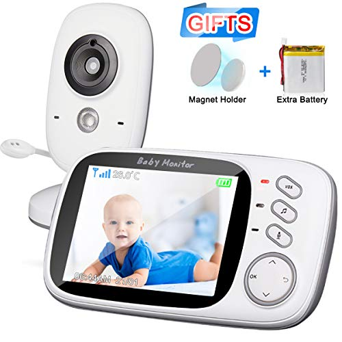 Video Baby Monitor with Digital Camera 3.2'' LCD Baby Security Camera with 2PCS High Capacity Batteries,Magnet Holder,Two-Way Audio,Night Vision,Room Temperature,Lullabies for Baby/Nanny/Elderly/Pet