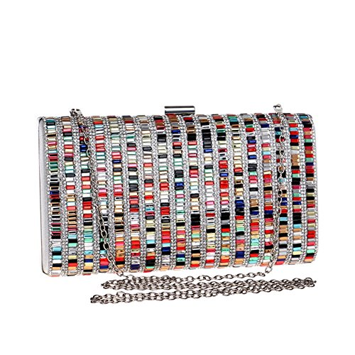 Colorful Women Out Party Dress Multicolored Wedding MSFS Rhinestone Clutch Handbag Chain Evening Unz4wwpq6