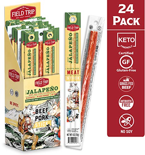 Field Trip Pork & Beef Jerky Sticks   Keto Gluten Free Jerky, Low Carb, Healthy High Protein Snacks With No Nitrates, Made With All Natural Ingredients   Spicy Jalapeno   1oz, 24Count