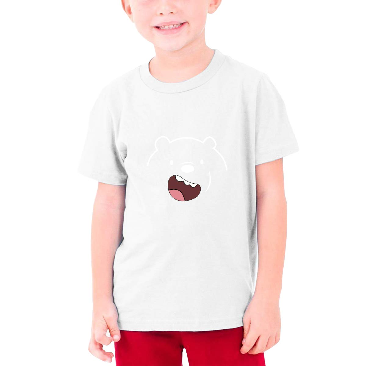 Runxin Design We Bare Bears Funny Tshirts Short Sleeve for Minor Black