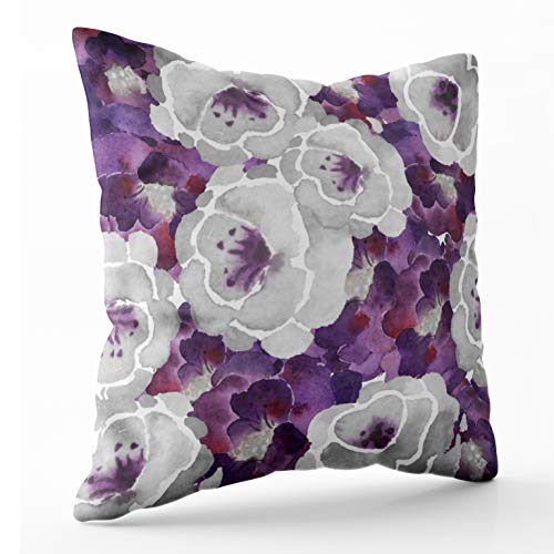 Shorping Zippered Pillow Covers Pillowcases 16X16 Inch purple silver gray floral watercolor accent pillow Decorative Throw Pillow Cover ,Pillow Cases Cushion Cover for Home Sofa Bedding (And Pillows Purple Silver)