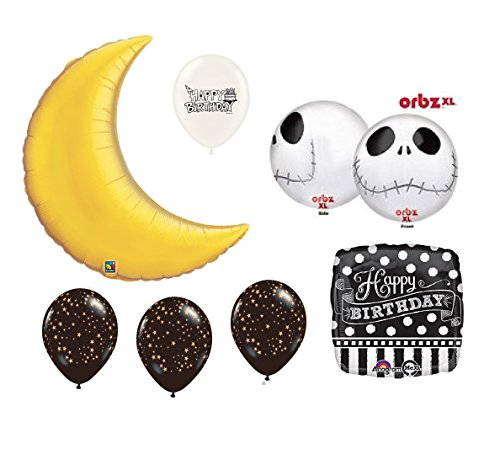 Ballooney's Gold Crescent Moon Jack Skellington Birthday Party Balloon Bouquet (Bouquet Crescent)