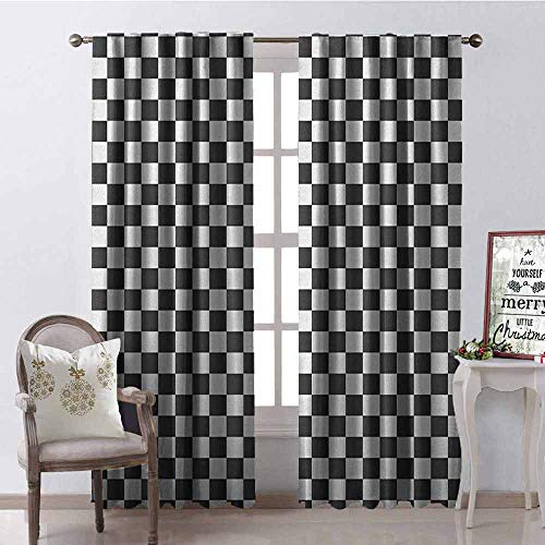 GloriaJohnson Checkered Blackout Curtain Monochrome Composition with Classical Chessboard Inspired Abstract Tile Print 2 Panel Sets W52 x L72 Inch Grey White
