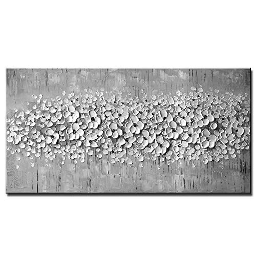 3D Pure Gray White Flower Oil Painting 100% Hand Painted Framed Canvas Wall Art Abstract Modern Contemporary Decoration Simple Life Beautiful Flowers Blossom Floral Picture Ready to Hang (29.5x57inch)