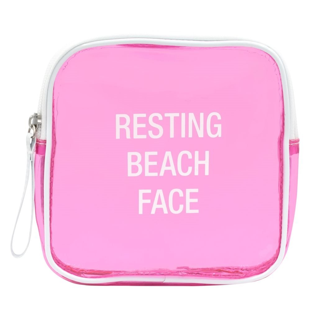 About Face Designs Say What Resting Beach Face Clear Vinyl Cosmetic Makeup Bag 6.5 x 6.5 Pink