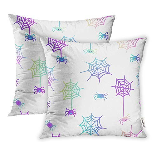 Emvency Set of 2 Throw Pillow Covers Cases Cute in Pastel Colors on White 80S Goth Great Halloween Party Flyers 20
