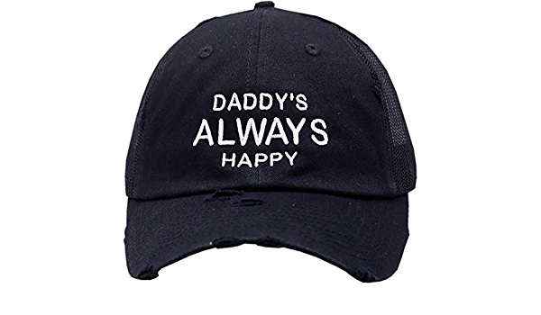 Daddy/'s Always Happy Snapback Trucker Mesh BlackWhite Cap