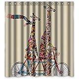 "Custom Waterproof Fabric Bathroom Shower Curtain Giraffe 66""(w) x 72""(h)"