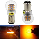 AMAZENAR 2-Pack 1157 BAY15D 1016 1034 7528 2057 2357 Extremely Bright Amber/Yellow LED Light 12V-DC, AK-3014 39 SMD Replacement Bulbs For Turn Signal Lights Tail BackUp Bulbs