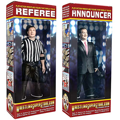 (Special Deal: Talking Referee & Ring Announcer Wrestling Figures)