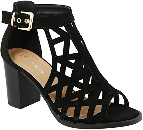 TOP Moda LEVIN-27 Ankle Strap Open Toe Chunky Heel Platform Gladiator Sandal (6.5, Black)