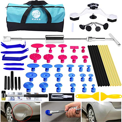 GLISTON Dent Remover Tools - Paintless Dent Repair Kit with Stainless Slide Hammer Dent Puller, Pry Tool, Bridge Puller Dent Removal Kit for Car Hail & Door Ding Damage