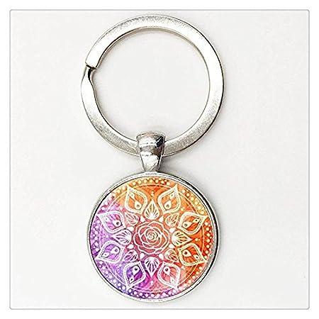 Retro Style Om Mandala - Llavero para yoga, diseño de flor ...