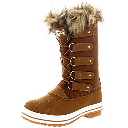 Up Tan Womens Polar Snow Winter Rubber Rain Lace Products Boots Tall Shoe Nylon Sole Cqtwt75