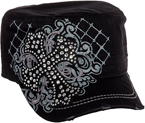 Crystal Case Womens Cotton Rhinestone Cross Cadet Cap Hat (Black)