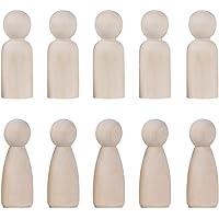 Toyvian 20 piezas de muñecas con clavijas de madera sin terminar clavijas de madera decorativas Cuerpos de bodas Toppers de novia y novio para el bricolaje Artesanía Decoraciones de bodas (35mm Boy + 35mm Girl, 10 pcs cada una)