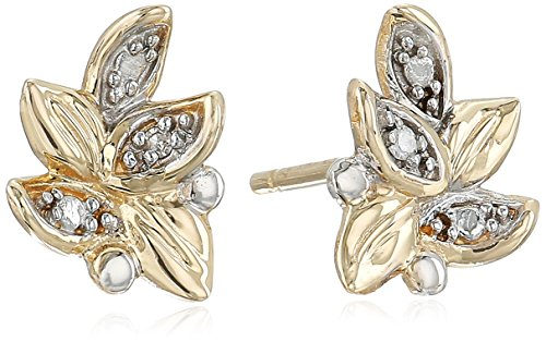 10k Yellow Gold Diamond Accent Floral Leaf Stud (Diamond Floral Stud)