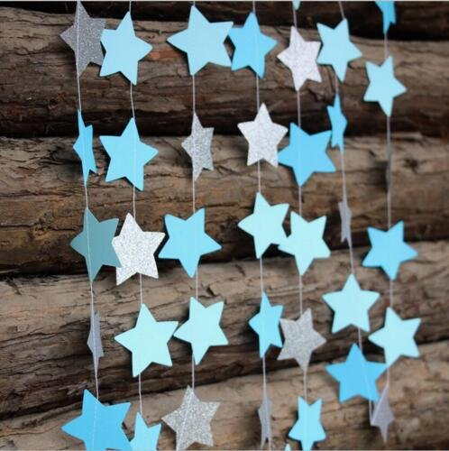 Fascola 13Feet Five-pointed Star String Paper Garland Hanging Decoration Wedding Birthday Party Baby Shower Background Decorative,Pack of 2 (Blue Silver)