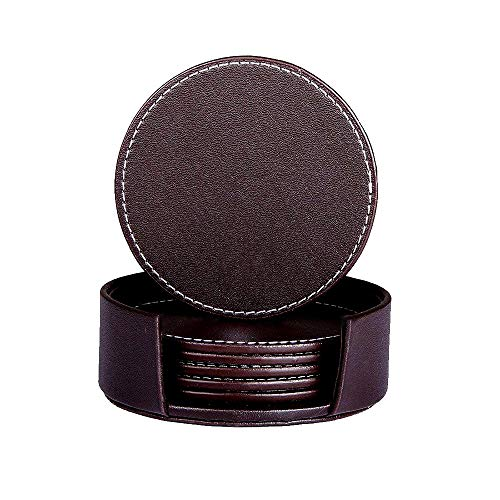 Brown Coaster - Drink Coasters, Penxina Leather Coffee Coasters with Holder, Protect Furniture Tabletop from Damage, Set of 6, Round 3.9 Inch (Brown)